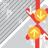 Battaglia di schianto freccia con sfondo grunge — Vettoriale Stock
