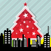 City with christmas tree — Stock Vector