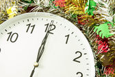 Twelve o'clock with christmas decoration — Stock Photo