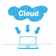Handwriting sketch cloud computing concept — Stock Vector
