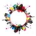 Art banner urban design with ink splash — Stock Vector #16508393