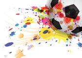 Soccer ball encre splash design fond — Vecteur