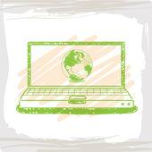 Grafia schizzo wolrd all'interno computer verde — Vettoriale Stock