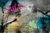 Juli Monat Kunst Grunge design — Stockfoto