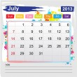 Calendar july 2013 — Stock Vector