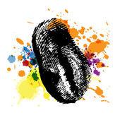 Thumbprint on ink splatter — Stock Vector