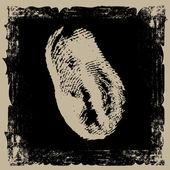 Thumbprint on grunge background — Stock Vector