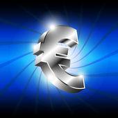 металлический значок деньги евро — Cтоковый вектор
