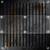 Mirror label metallic grille rusty background — Stock Photo
