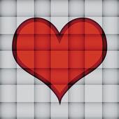 Srdce na čtvercový vzorek — Stock vektor