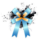 Blue ribbon bow on ink splash — Stock vektor