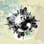 Art grunge background with globe urban — Stock Vector #21609435