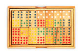 Domino in wood box with white background — Foto Stock