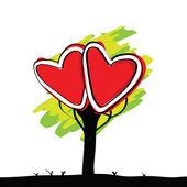 Handwriting of kid painted heart tree — Stock Vector