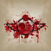 Star symbol with blood on crumple paper — Stock Vector