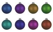 Set of christmas balls globes — Stock Photo