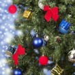Christmas toys on a tree — Foto Stock