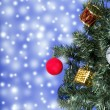 Christmas toys on a tree — ストック写真