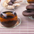 Two cups of tea with two plates with cookies — Стоковая фотография