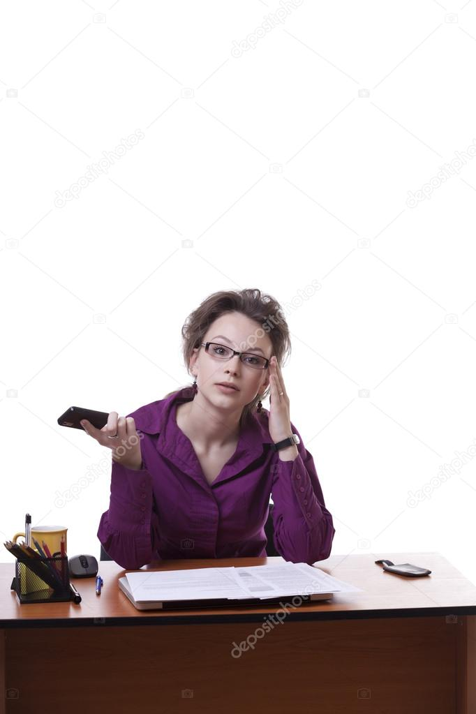 Businesswoman looking upset wile talking on the cellphone isolated on white studio shot — Stock Photo #20188285