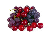 Cherries and grape isolated on white background — Stock Photo