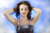 Attractive women on abstract backgrpound, glamour skin and proff — Stock Photo