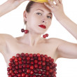 Fruit girl isolated on white, glamour fashion portrait of a beau — Stock Photo