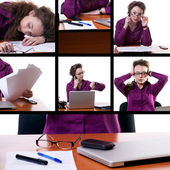 Tired businesswoman collage — Stock Photo