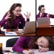 Young stressed businesswoman at desk collage — Stock Photo