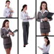 Young successful businesswoman collage — Stock Photo
