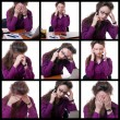 Stock Photo: Young stressed businesswoman at desk collage