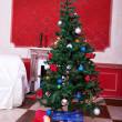 Christimas  interior in red vintage room — Foto Stock