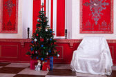 Christimas interior in red vintage room — Stock Photo