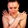 fashion portret of beautiful woman with pearls — Stock Photo