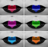Beautiful hearts on lips collage — Stock Photo