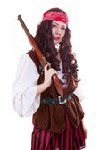 Pirate gilr with gun on white background — Stock Photo