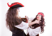 Two pirates fighting for box of tresure — Stok fotoğraf