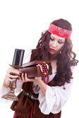 Pirate woman on white background — Stock Photo
