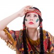 Native american woman looking away — Stock Photo