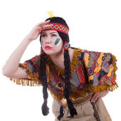 Native american girl on white background — Stockfoto