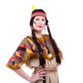 Beautiful native american woman on white background — Stockfoto