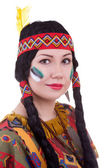 Native american woman on white background — Stockfoto
