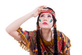 Native american woman looking away — Stockfoto