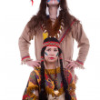 Native american couple isolated on white background — Stock Photo