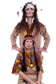 Native american couple isolated on white background — Zdjęcie stockowe