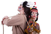 Native american men with rope on girl — Foto Stock
