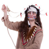 Native american with rope isolated on white background — Zdjęcie stockowe