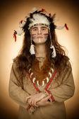 Native american men toned image vintage style — Stock Photo