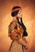 Native american woman toned image — Stock Photo