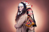 Native american couple vintage image on brown — Stock Photo